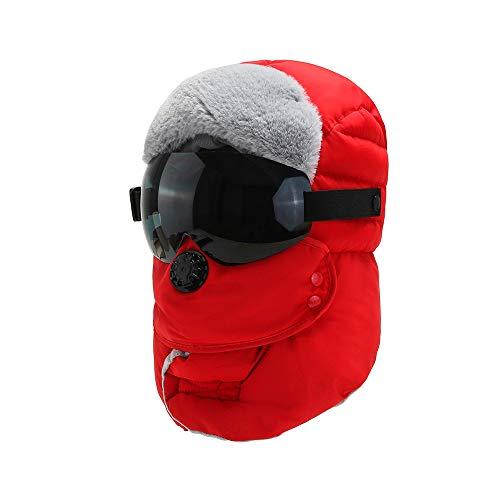 WSZDKA-WOMENBELT Chapka Homme Trappeur Bomber Casquettes avec Masque DéTachable Anti-Vent Anti-PoussièRe Unisexe Chapeau Chaud pour Ski Snowboard VéLo Moto 22-23,5 Pouces Rouge (Lunettes Noires)