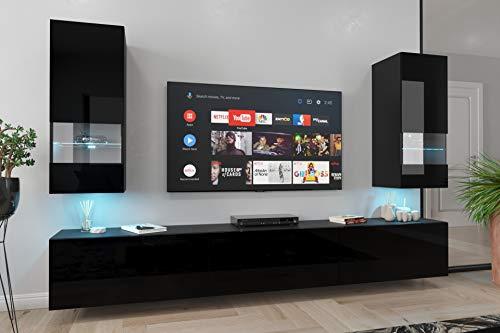 Home Direct Sezana N21 1A Modernes Wohnzimmer Wohnwände Wohnschränke Schrankwand Schwarz Weiß Hochglänzend (AN21-18B-HG1 1A (schwarz), Möbel ohne LED)