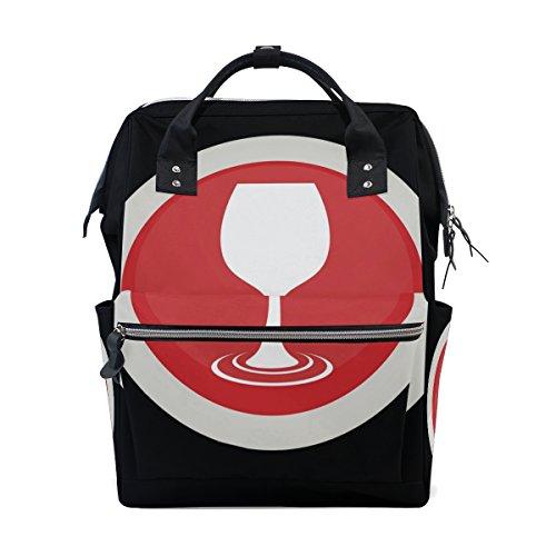 MUMIMI Wickeltasche mit größerem Fassungsvermögen für Babys, Weinglas-Logo, multifunktional, Reiserucksack