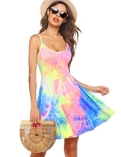 ACEVOG Women's Sleeveless V Neck Tie Dye Casual Swing Dress