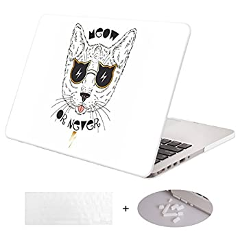 DWON MacBook Case Pro 13 Inch with Retina with Keyboard Cover and Dust Plug for Apple MacBook Pro 13 Inch Sleeve Model  A1502/A1425 Version 2015/2014/2013/end 2012  - White Cat
