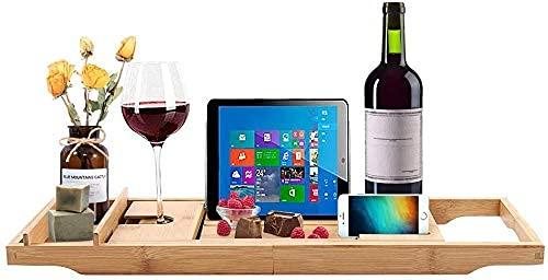 Bandeja extensible de bambú natural para bañera con soporte de vidrio de vino, bandeja de dispositivo para tablet teléfono inteligente bañera Caddy bandeja