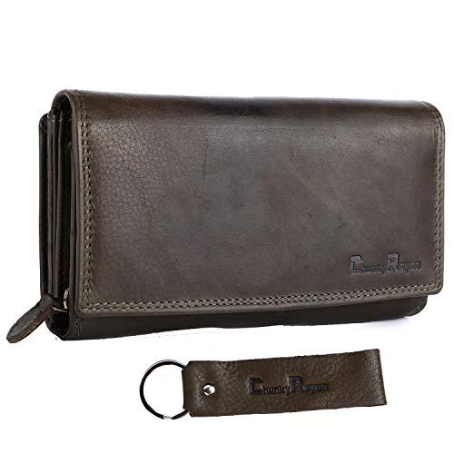 Chunkyrayan Damen Portemonnaie Echtleder XXL RFID Schutz inklusive Leder Schlüsselanhänger P GB-7 Green 1