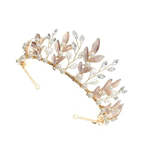 PIXNOR Boda de Perlas Diamantes de Imitación Novia Tiaras Cristal Vintage Princesa Tocado Accesorios para El Cabello para Regalos de Fiesta de Cumpleaños de Oro
