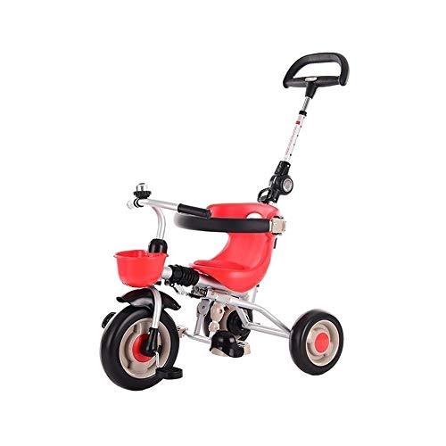 WENJIE Cochecito De Bebé Plegable Bicicleta De Los Niños Se Apagan Portátil Actual De Coches De Juguete 1-3-2-6 del Cumpleaños del Año De Edad del Niño (Color : Red)