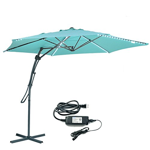 MYAL [Updated Version] Led Cantilever Umbrella 10ft Offset Patio Umbrella Outdoor Umbrella with Light 180 LED Turquoise
