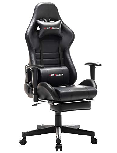 N+A Gaming Chair Racing Style Office Chair Adjustable Swivel Rocker Desk Chair Recliner Leather High Back Ergonomic Computer Chair with Footrest (RED/Black)