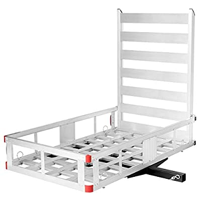 """Goplus Aluminum Cargo Carrier, 50""""x29.5"""" Hitch Mounted Wheelchair Scooter Mobility Carrier Medical Lift Rack Ramp, 500 lbs Weight Capacity"""