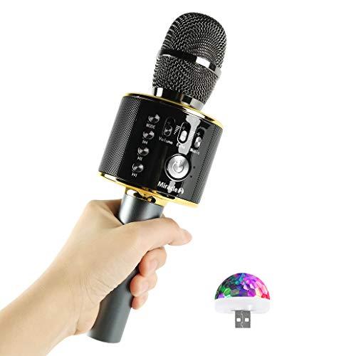 bocina karaoke con microfono inalámbrico de la marca miracle,m