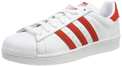 adidas Herren Superstar Sneaker, Weiß (FTWR White/Active Red/FTWR White FTWR White/Active Red/FTWR White), 42 2/3 EU