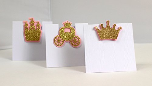 All About Details Shimmer Pink & Gold Princess Theme Place Cards, 12pcs, 3.5in Width and Around 3.5-4.0 in Tall