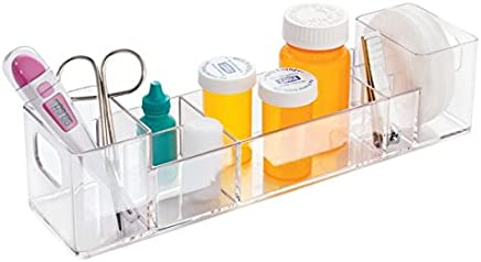 mDesign Slim Plastic Bathroom Vanity,  Countertop,  Cabinet Storage Organizer with Handles - Holds Vitamins,  Medical Supplies,  First-Aid,  Makeup - 12 Long - Clear