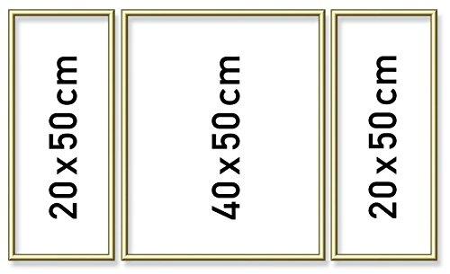 Schipper 605140707 - Malen nach Zahlen - Triptychon Alurahmen 50 x 80 cm, goldglänzend ohne Glas für Ihr Kunstwerk, einfache Selbstmontage, Gold