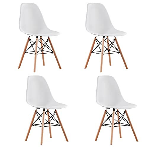 AINPECCA Dining Chairs Set of 4 White Plastic Seat with Solid Beech Wooden Legs Dressing Kitchen Lounge Home