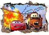 Kibi 3D Adesivo da Parete Cars di Arte Auto del Fumetto PVC Parete Rotto Adesivi Muro Cars Disney Camera dei Bambini Soggiorno Camera da Letto Decorazione Casa Stickers Murali Cars Rimovibili
