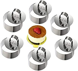 ONEDONE Mousse Círculo pastel molde para tartas de acero inoxidable anillos con empujador, 8 cm de diámetro, juego de 6 Round