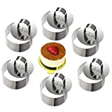 ONEDONE Mousse Rings Stainless Steel Cake Circle Cake Mold with Pusher, 8cm Diameter, Set of 6 (Round)