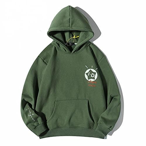 JiaFang Otoño e Invierno Cactus Urban Streetwear pulóver suéter Swag Hombres y Mujeres Sudadera con Capucha de Felpa Verde Oscuro con Capucha Stranger-Green, L
