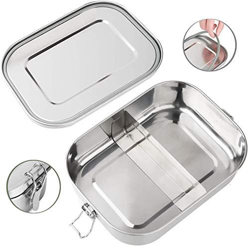 Roestvrijstalen lunchbox, stalen metalen lunchbox, levensmiddelenbak met sluitklemmen en uitneembare scheidingswand lunchbox tiffin box salade lunchbox sandwichhouder, milieuvriendelijk, voor studenten, volwassenen, kinderen, picknick (BPA-vrij)