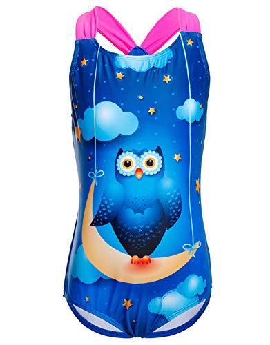 iDrawl Kinder Mädchen Einteiler Badeanzug Delfin-Muster Crisscross Badeanzug für Alter 4 bis 14 Jahre M Eule