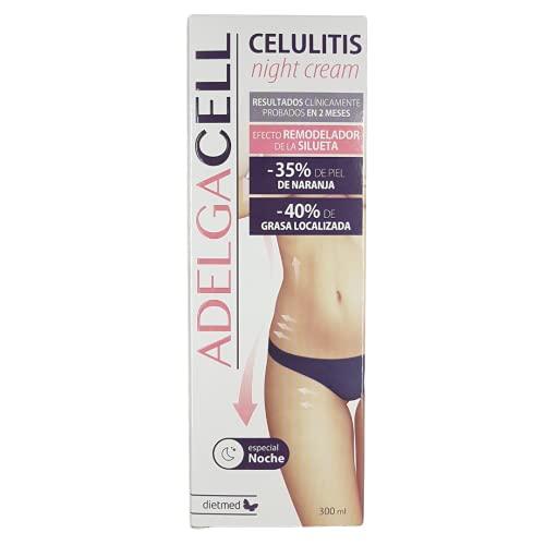 Adelgacell - Celulitis Crema de Noche Anticelulítica y Reductora | Efecto Remodelador de la Silueta | Reduce Celulitis y Piel de Naranja | Quema grasas Abdomen y Caderas | Reafirmante Corporal 300ml