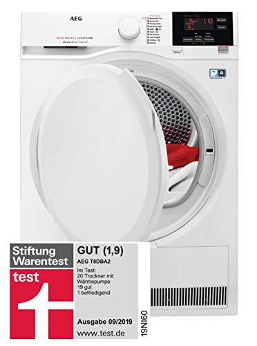AEG T8DBA2 Wärmepumpentrockner / AbsoluteCare: Wolle-Seide-Outdoor trocknen / 8 kg / Energiesparend / Mengenautomatik / Knitterschutz / Schontrommel