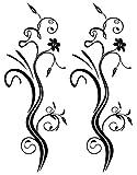 Wandtattoo Wallsticker Wandaufkleber - Blumenranke V17 - ca 58 x 21 cm - Ranke Floral Ornament Rose schwarz