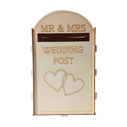 Uphsang Houten geldbox/brievenbox/bruiloftspostkaarten in wit en goud - ideaal voor enveloppen, huwelijkskaarten & geldgeschenken voor bruiloft, verjaardagsenveloppen, verzamelbox geldgeschenken