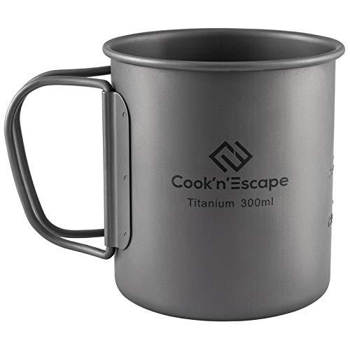 COOK'N'ESCAPE アウトドア用マグカップ チタン マグ シェラカップ 超軽量 専用収納袋付 FDA&LGFB食品グレード製品認証 指紋防止加工