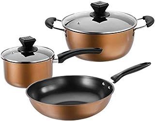 WENYAO Juego de ollas de Acero Inoxidable Juego de ollas de 3 ollas combinadas de Cocina Sopa de Wok Leche Olla Estufa de Gas Universal para Cocina (Color: Color de la Foto, tamaño: tamaño Libre)