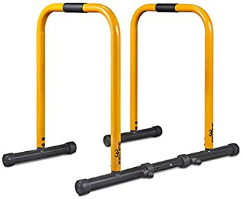 Heavy Duty Workout Dip Bar Push Up Stand (Yellow)