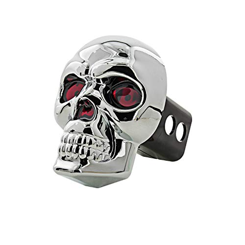 Bully CR-018 Chrome Skull Emblem LED Light Trailer Tow Hitch Receiver Cover with Plug In LED Brake Lights for Chevy, Dodge, GMC, Ford, Toyota, and Others