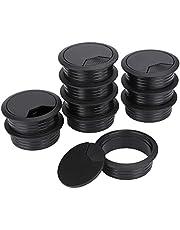 Kabelopening voor de tafel, zwart, voor de computer, van kunststof, 60 mm, 10 stuks