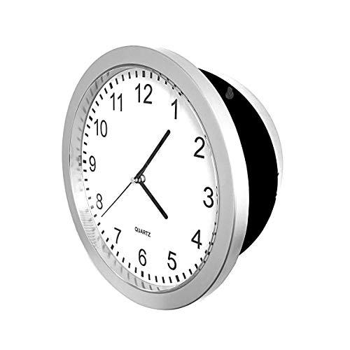 HAC24 Uhren Safe Tresor Silber Geldkassette Wanduhr Geld Schmuck Geheimversteck Uhrensafe Geldversteck Küchenuhr Geheimfach (Silber)