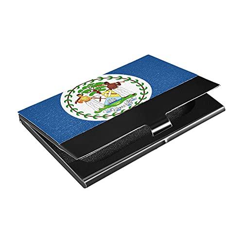 Soporte para tarjetas de visita de acero inoxidable de la bandera de Belice, titular de la tarjeta de crédito de cuero sintético, para hombres y mujeres (p