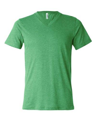 BELLA + CANVAS Men's Triblend V-Neck Tee (Green Triblend) (X-Large)