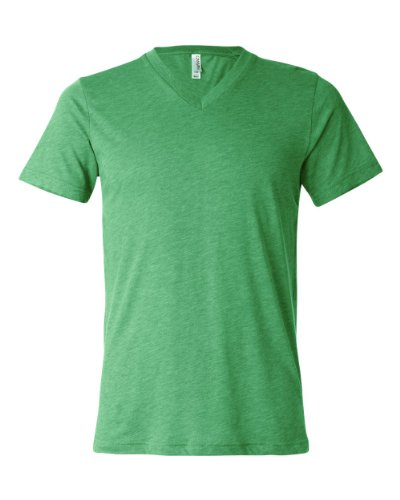 Bella Men's Triblend V-Neck Tee (Green Triblend) (X-Large)