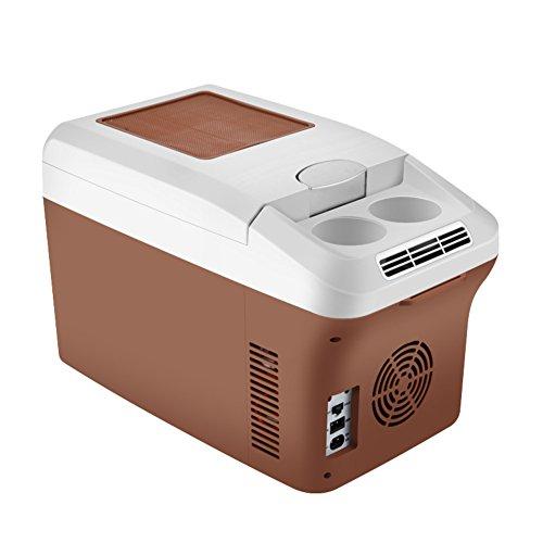 SL&BX Refrigerador de barco 24v,Camión grande nevera 12v coche coche mini doble calentamiento caja mini nevera portátil para el hogar,Oficina,Coche o barco -marrón 27.6x18.5x23.2cm(11x7x9inch)