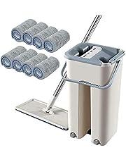 Generic Zestaw mopów do podłóg, mop 360°, teleskopowy trzonek, samo-czyszczący, płaski mop z 10 ściereczką z mikrofibry i wiaderkiem do czyszczenia podłogi