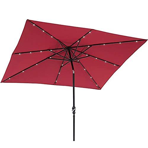 YRRA Parasol Sombrilla Playa Plegable,LED Sombrilla Ø 300cm con manivela Parasol para jardín, terraza, balcón Patio,Rojo,2X3M Square Umbrella