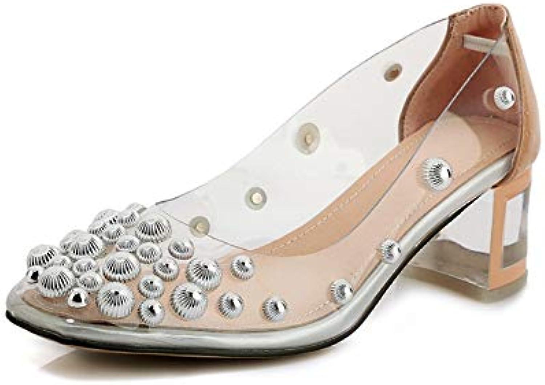 MENGLTX High Heels Sandalen 2019 Neue Ankunft Lackleder + PVC Frauen Pumpt Runde Spitze Niet Flach Sommer Schuhe Quadratische Fersen Prom Schuhe Frau