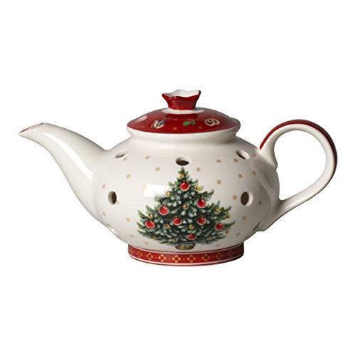 Villeroy & Boch Toy's Delight Decoration Teelichthalter Kaffeekanne, Weihnachtsdekoration aus Premium Porzellan, weiß, rot