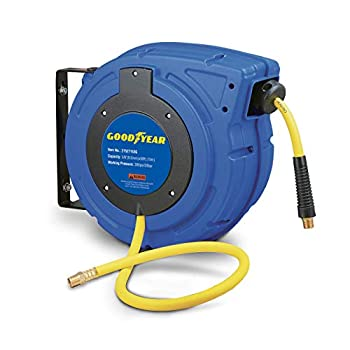 Goodyear Air Hose Reel Retractable 3/8  Inch x 50  Foot Hybrid Polymer Hose Max 300PSI Commerical Polypropylene Construction