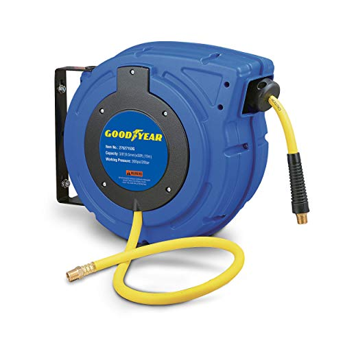 Goodyear Air Hose Reel Retractable 3/8 Inch x 65 Feet Premium Commercial Flex Hybrid Polymer Hose Max 300 Psi Heavy Duty Spring Driven Polypropylene Construction w/Lead-in Hose and PVC Handle