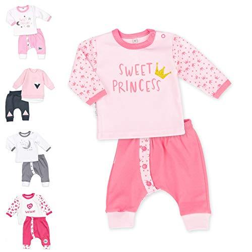 Baby Sweets 2er Baby-Set mit Hose & Shirt für Mädchen/Baby-Erstausstattung in Rosa mit Prinzessin-Motiv/Baby-Kleidung aus Baumwolle für Neugeborene & Kleinkinder/Größe: 6 Monate (68)