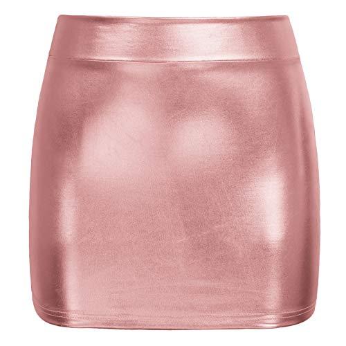 Kate Kasin Stilvolle Clubwear für Damen Night Out Glänzender flüssiger metallischer Faltenminirock Rose Gold M