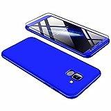 JINICHANGWU kompatibel mit Hülle für Samsung Galaxy J8 Hülle + Panzerglas, Schale PC Full-Cover Anti-Kratzer Handyhülle Schutzhülle Case Hülle für Samsung Galaxy J8 (2018) (Blau)