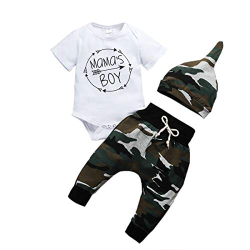 Säuglings Baby Junge Kleidung Neugeborene Langarm Bodysuit Hose Hut 3 Stück Outfit Set Outfitt Mama's Boy