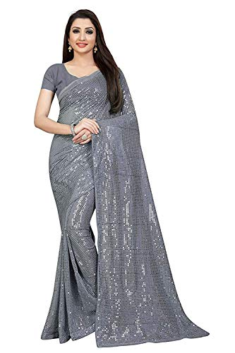 N V DESIGNER Women's Heavy Georgette Embroidery Sequence Work Saree with Blouse (Grey)