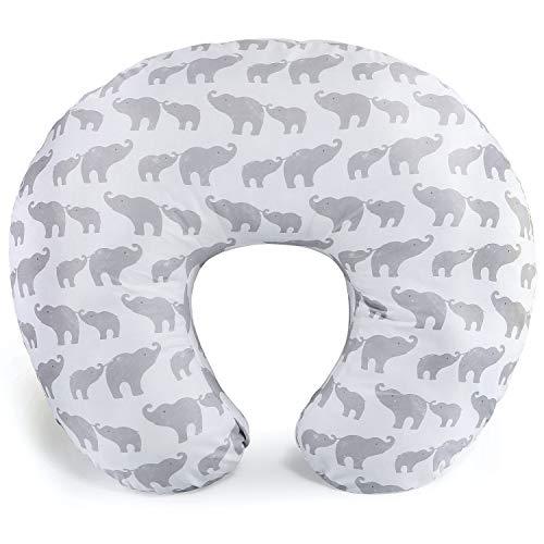 The Peanutshell Grey Elephant Nursing Pillow for Breastfeeding | Pillow & Nursing Pillow Cover for Baby Boys or Girls